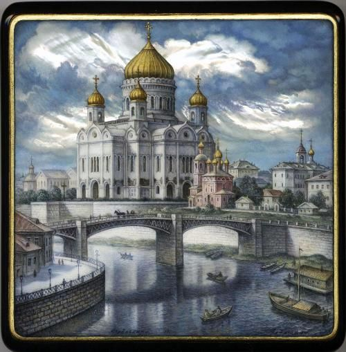 Aldoshkin, Fedoskino lacquer box, Old Moscow. Cathedral of Christ the Saviour