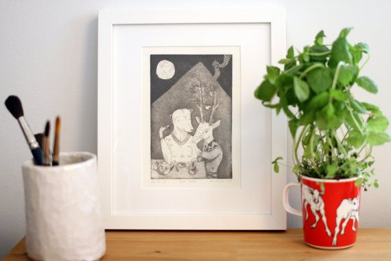 """This is a hand pulled original greyscale aquatint etching art print on 300g Hahnemuhle paper.  Original artwork in finnish """"Tapion talossa"""", translated """"In a house of Forest God Tapio"""".  It is one in an edition of 6. Due to the nature of printmaking each print is slightly different as I have to ink up the plate by hand for each print. The print measures 17.5 x 11.4cm ( ~6.9"""" x 4.5"""" )."""