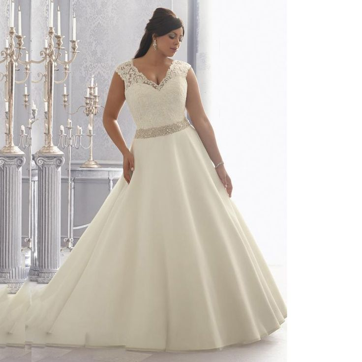 Vnaix Long Lace A Line Plus Size Wedding Dresses Short Sleeves With Sashes Cap Sleeves Backless