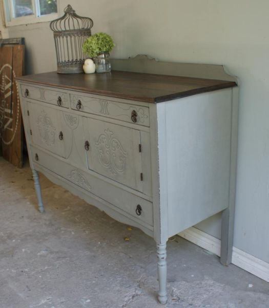French Linen Chalk Paint Buffet With Clear Wax, Dark