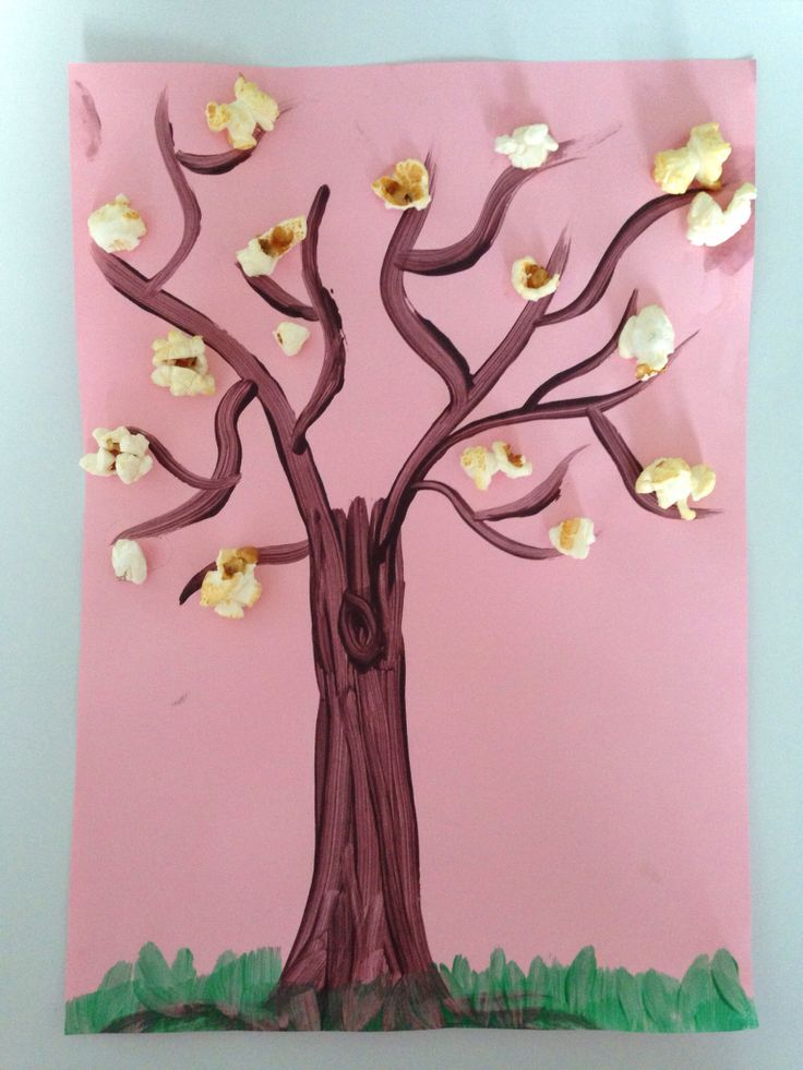 Spring crafting for kids with popcorn