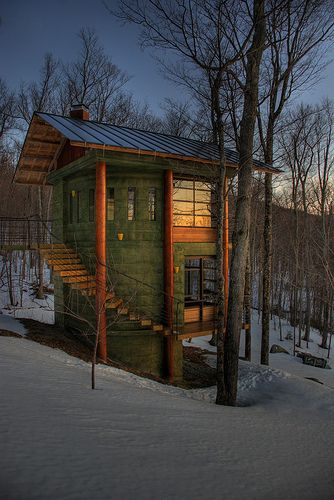 """This was taken during a ski trip this past weekend.  It is a """"treehouse"""" that the owner of the home built to enjoy the breathtaking views of the mountains surrounding his house.  There was a nice sunset that night that I tried to catch in the windows of the treehouse."""