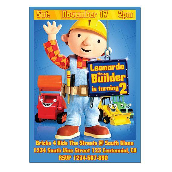 15 mejores im genes de Mitchells 2nd Birthday en Pinterest – Bob the Builder Party Invitations