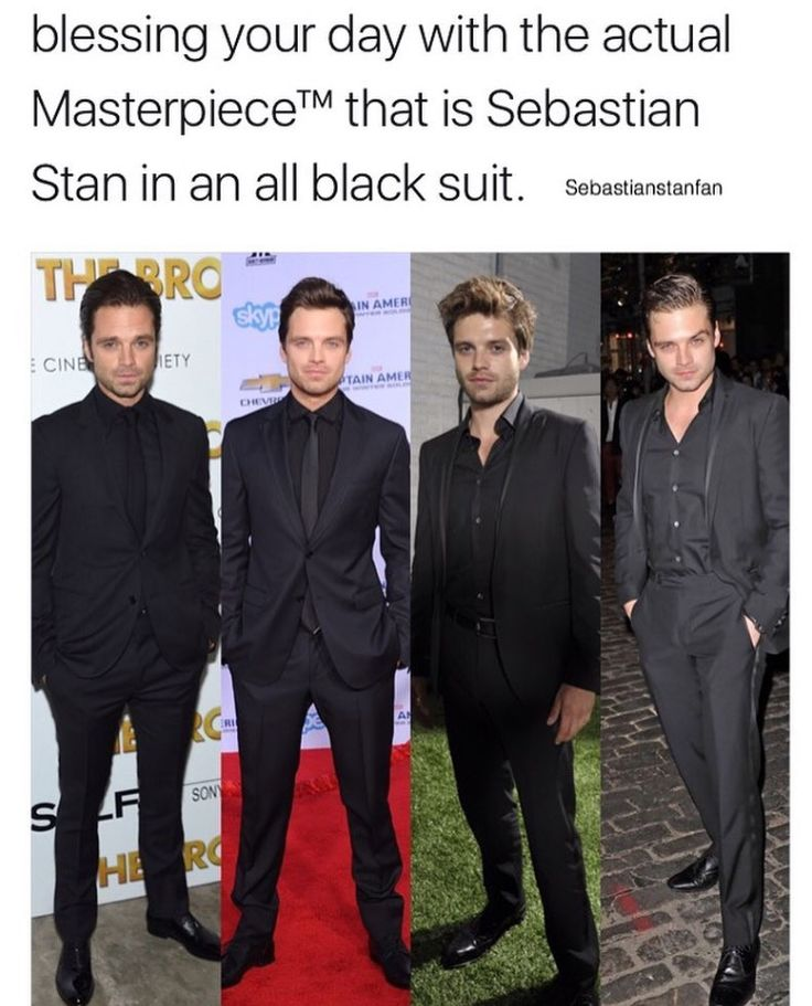 Sebastian Stan all black suits