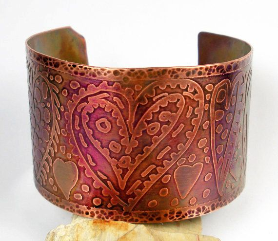 Etched Copper Cuff Bracelet, A Etched and Hammered Copper Cuff with a Hand-drawn Doodle Art Heart Design with Distressed Patina- Many Hearts on Etsy, $129.00