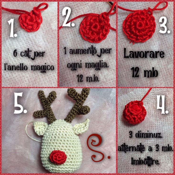 Tutorial free 4^ passo renna Rudolph amigurumi crochet uncinetto natalizio. Il naso.