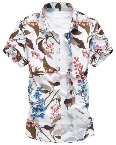 01687238 Men's Short-Sleeved Shirts Broken Flowers Casual Large Shirts - WHITE 3XL