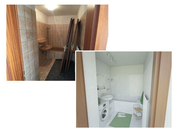 Luxury Frisch renoviert und mit den gr nen Accessoires wirkt das kleine Bad viel freundlicher und wohnlicher Durch die neuen M bel wurde Stauraum geschaffen und