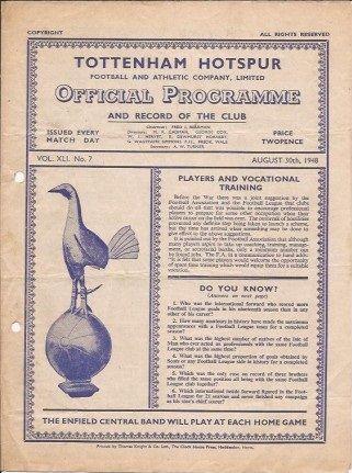 30 August 1948 v Tottenham Hotspur Lost 0-4