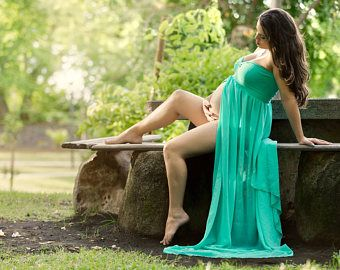 Maternity Gown, Maternity dress for photo shoot, Aqua Maternity gown, Maternity Photo Prop, Long dress maternity session, ready to ship