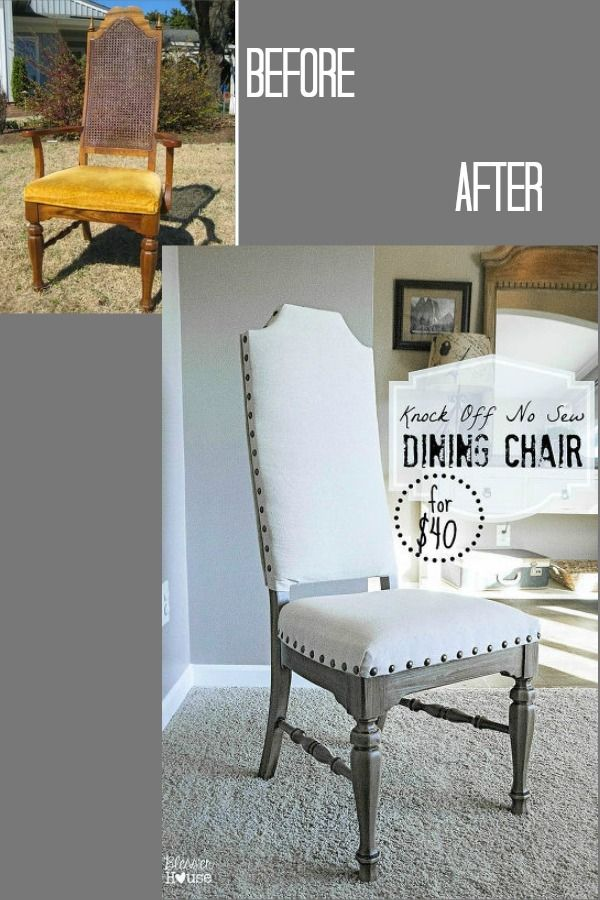 DIY No Sew Knock Off French Dining Chairs