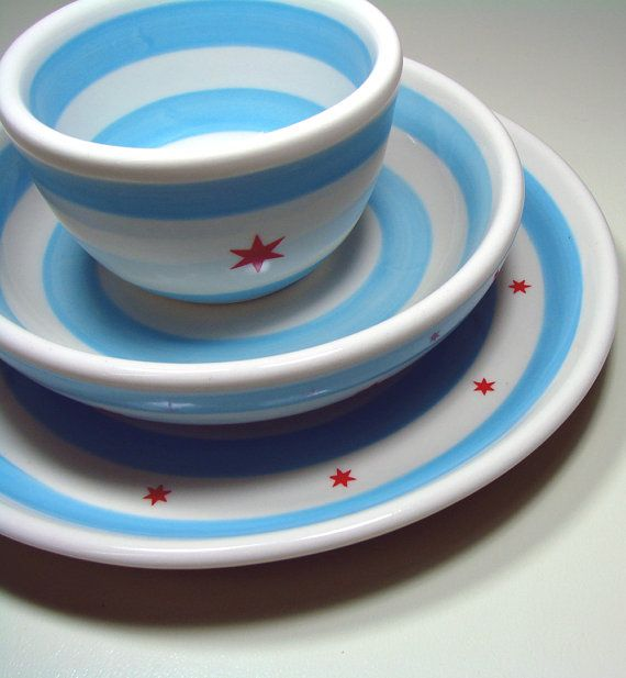 Chicago Flag Simple 3 piece Place Setting Made to by CircaCeramics, $120.00