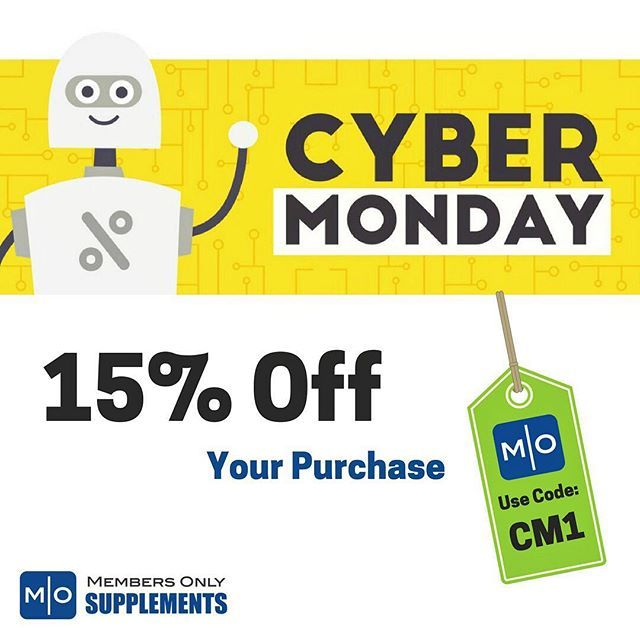 Happy Cyber Monday! Enjoy 15% off your ENTIRE PURCHASE at http://membersonlysupplements.com! Use code: CM1 ️️ • • #MembersOnlySupplements #CyberMonday #CyberMondaySale #Sale #Discount #Supplements #Protein #Workout #Fitness #FitLife #FitFam #Fitspo #Inspiration #Motivation #Gym #GymLife #GetBuff #LoseWeight #Exercise #Healthy #Transformation #HealthyLifestyle #Lifestyle