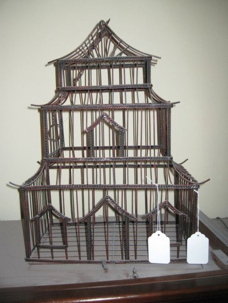 """Chinese Design 3 Tier Pagoda Decorative Metal Bird Cage Approx. 19"""""""