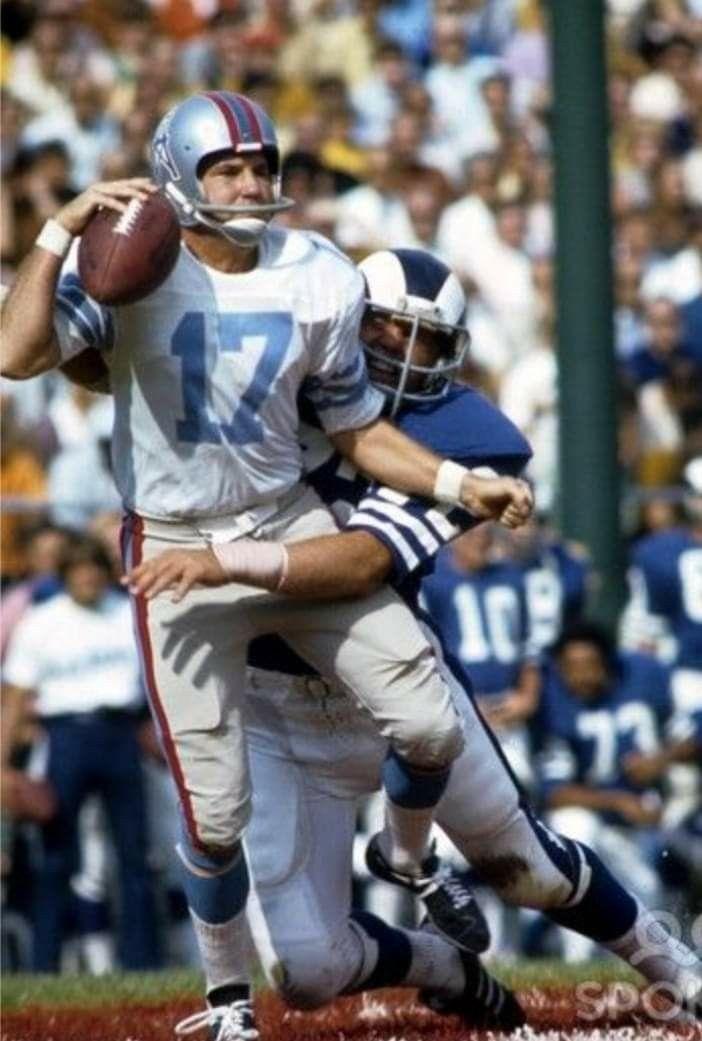 Oiler Qb Is Sacked By A Ram Rams Football Vintage Football Nfl Uniforms