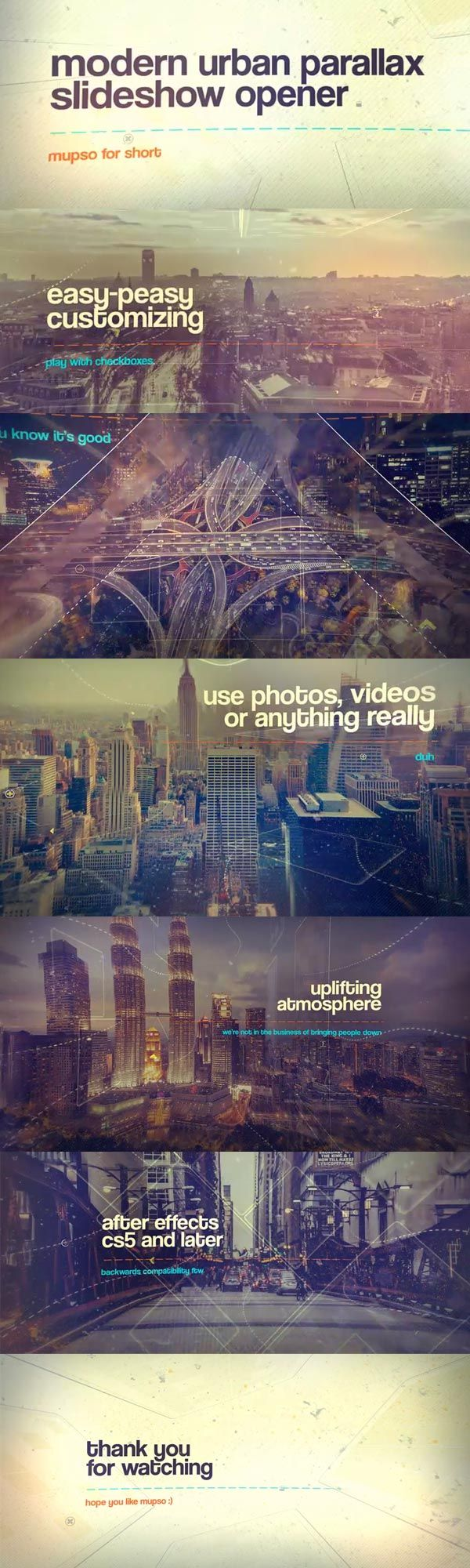 """Modern Urban Parallax Slideshow Opener - """"mupso"""" for short - is a multipurpose slideshow template for After Effects. Full control, easy setup, all you want from a template is here. #template #slideshow #opener #customizable #dynamic #cinematic #editable #after #effects"""