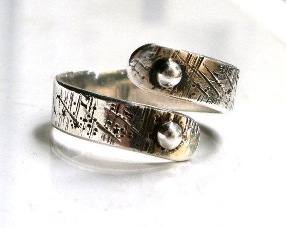 Sterling Silver Ring Wrap Ring Unisex Ring Oxidized Ring