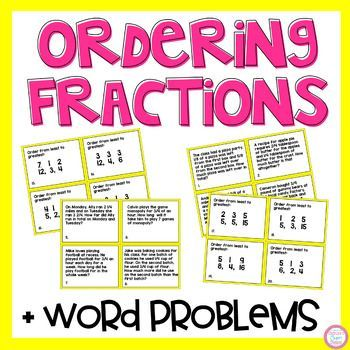 24 task cards for order fractions & word problemsGreat for center activities, independent practice, whole class scoot activities and more.Student recording sheet and answer key included.If interested please check out my fractions bundle that includes 9 center activities for a discounted price.Fraction BundleYou may also be interested in individual task cards:Fraction Models Task CardsComparing Fractions with ModelsComparing Fractions Task CardsAdding and Subtracting Fractions Task CardsMu...