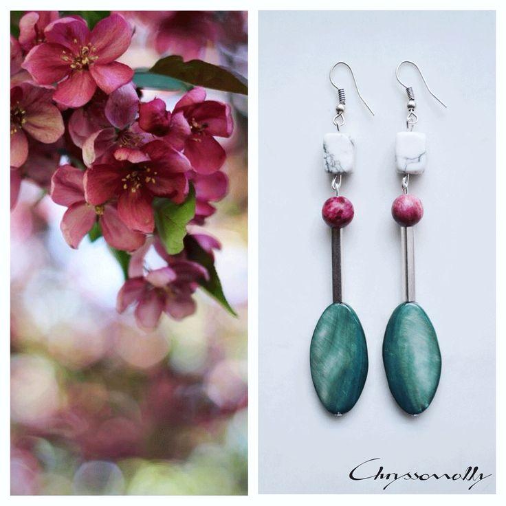 JEWELRY   Chryssomally    Art & Fashion Designer - Geometria romance boho chic silver earrings with mint green, marsala burgundy and white gemstones