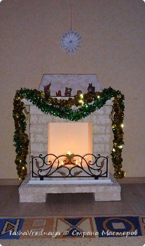 Поделка изделие Новый год Картонаж Наконец-то я закончила камин Картон гофрированный фото 4