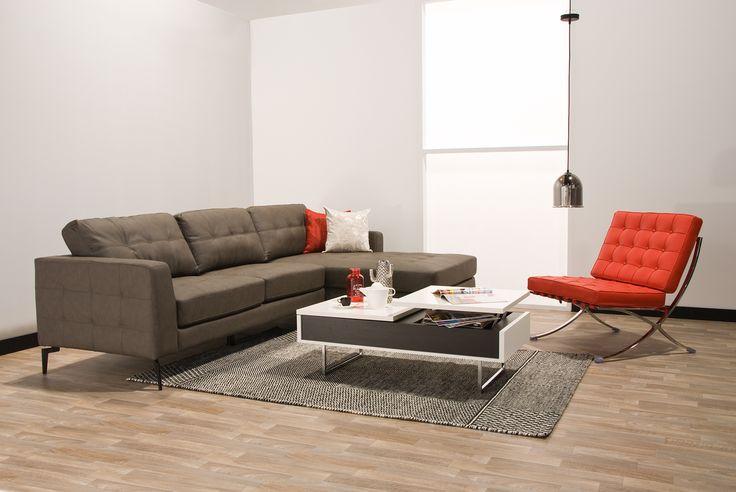 Sofá en L #Aria: Presentación en color #Blanco y #Gris Oscuro. #Break #HomeArticles #Home #HomeDesign #Chairs #Style #HomeStyle #Decoración #Couch