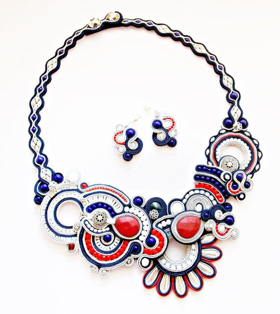 Soutache statement necklace and earrings. by Soutachebypanka