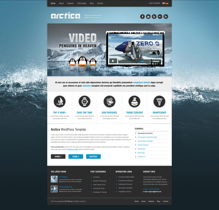 Video implemented in slider!!! Arctica WP Theme version 2 :) #webdesign #wordpress