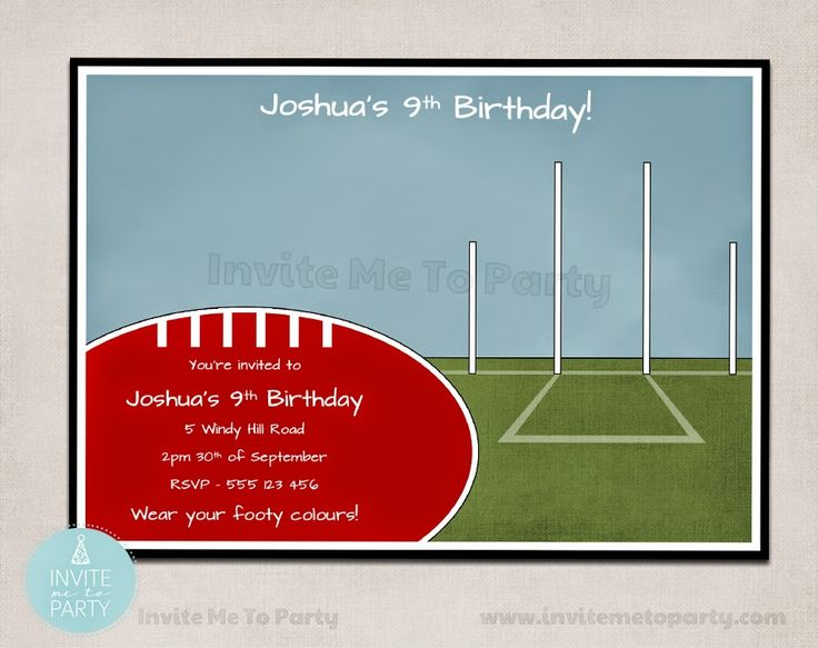 Football Party Invitation  Invite Me To Party: Footy - Aussie Rules Themed Birthday Invitation and Party Printables