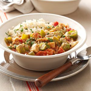 Chicken and Okra Gumbo Recipe from Taste of Home -- shared by Catherine Bouis of Palm Harbor, Florida