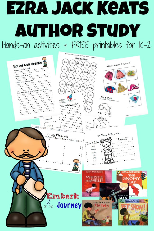 Download a free Ezra Jack Keats author study with printables for Kindergarten through 2nd grade.