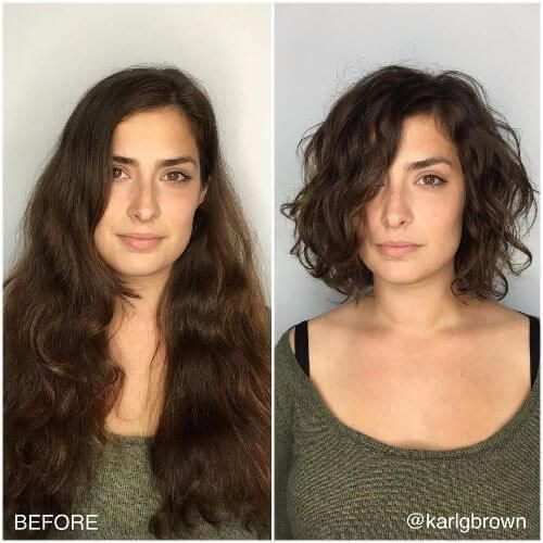 ve curly thin hair, try a lob with blunt ends styles in loose waves which are flattened toward the top.