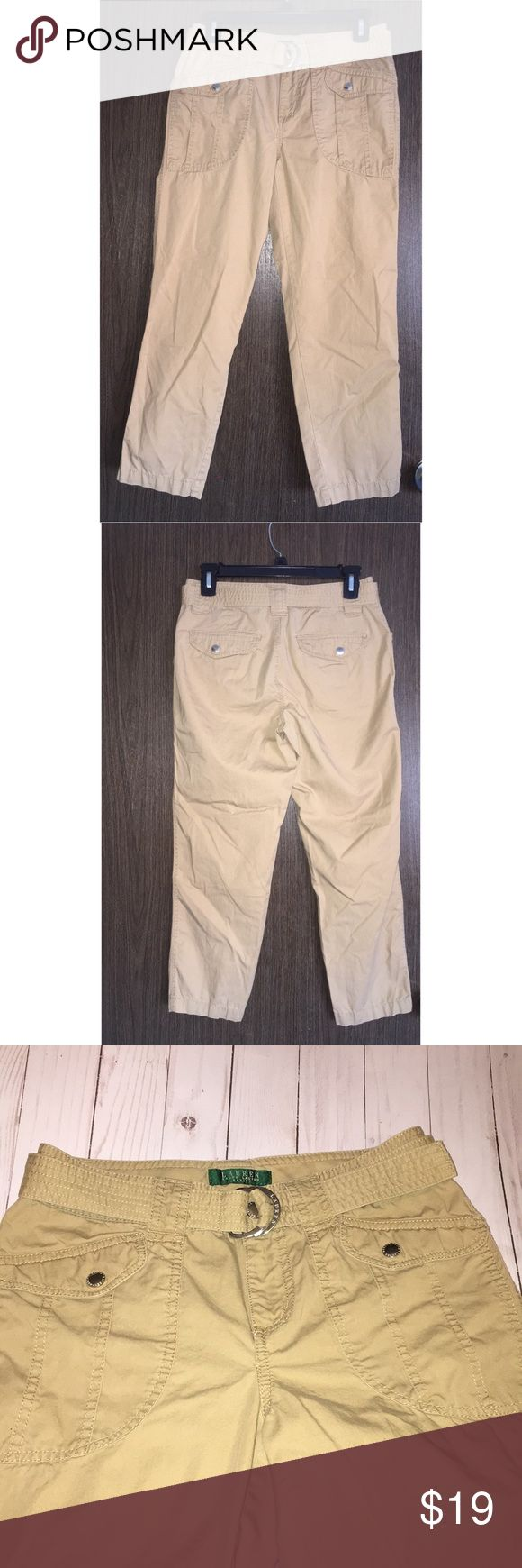 "Ralph Lauren 2P cargo khaki capris belted 2P approx 14"" waist laying flat. Approx 24"" inseam and 9"" rise. Lauren Ralph Lauren Pants Capris"