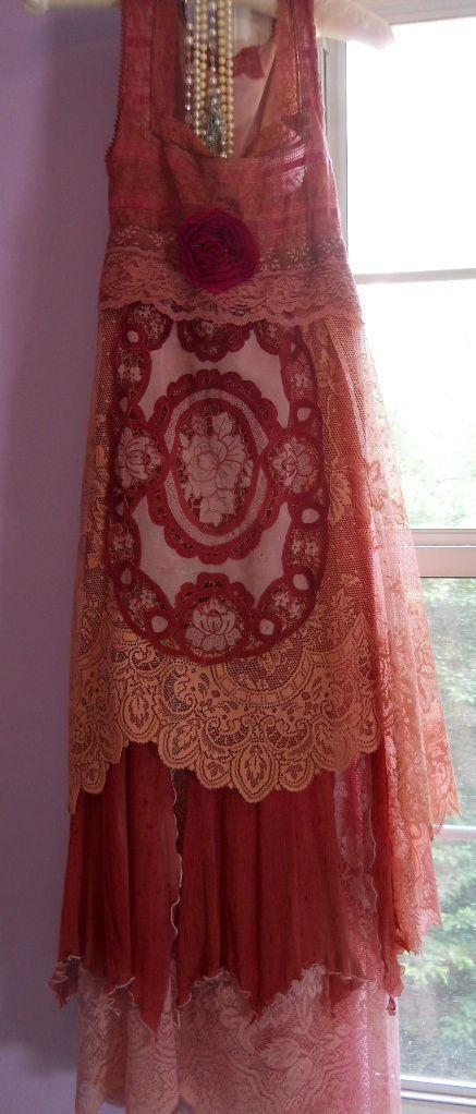 cherry red crochet dress