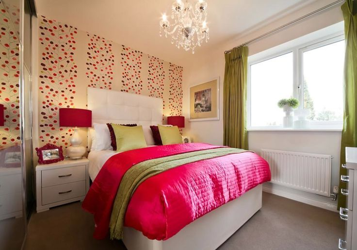 Taylor Wimpey - Orchard Place (Evesham) - Interior Designed Bedroom - Hot Pink and Lime Green scheme.  If you love this wallpaper, I tracked it down at https://www.finestpaintandpapers.co.uk/product.php/9098/berry_tree/754e0322d7853406083a6b460f326a55  It's called Scion Berry Tree Wallpaper