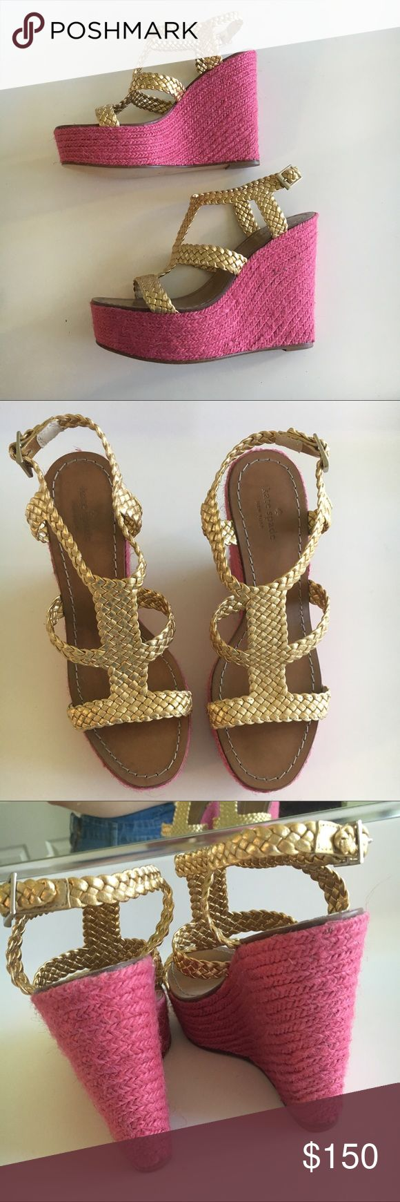 (offers welcome) Kate Spade Hot Pink / Gold Wedge Worn once- slight signs of wear on bottom (last pic) perfect for summer!! kate spade Shoes