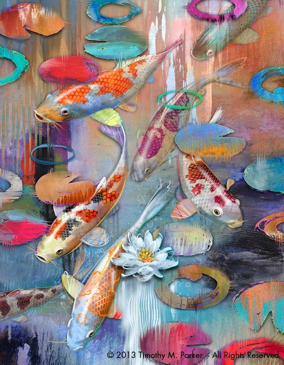 Contemporary Koi Art • Koi Fish • Modern Painting Reproduction • Abstract Koi Pond - Japanese Fish Art