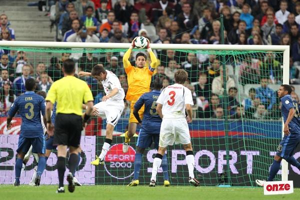 Hugo Lloris, Etienne Capoue Patrice Evra et Mamadou Sakho - équipe de France vs Biélorussie (3-1)