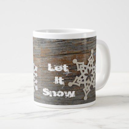 #Let it Snow Mug with snowflake image - #drinkware #cool #special