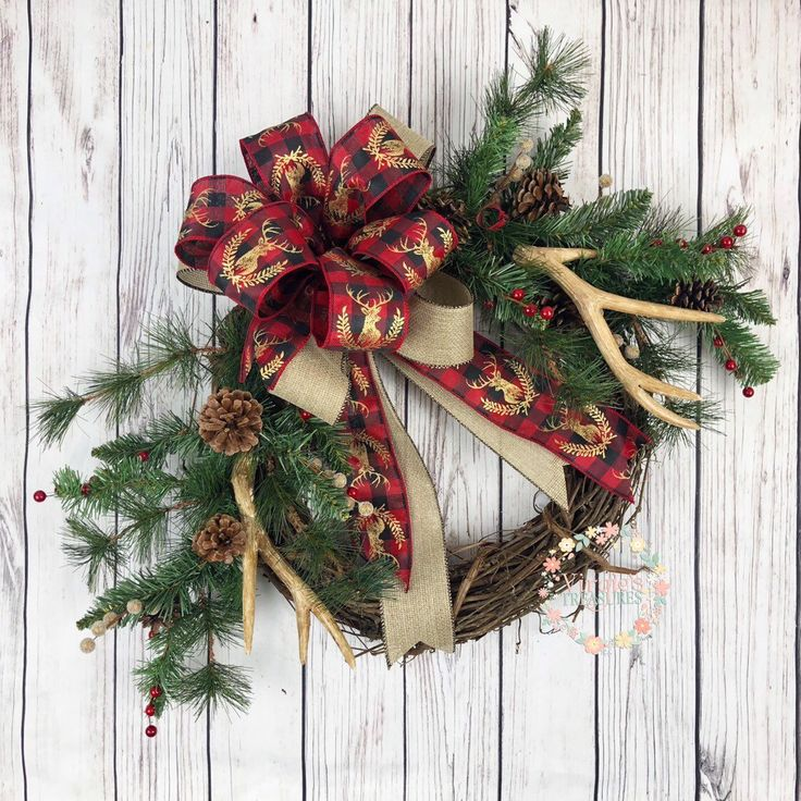 holiday christmas antler wreath - 736×736