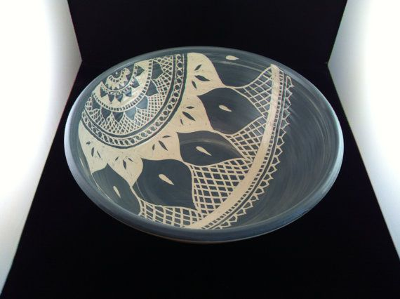 Sgraffito Mehndi Serving Bowl Ceramics By Paula Focazio
