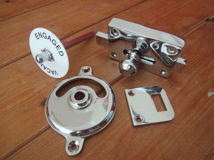 Chrome Vacant Engaged Toilet Bathroom Lock Bolt Indicator Door Knobs Handles Door Knobs
