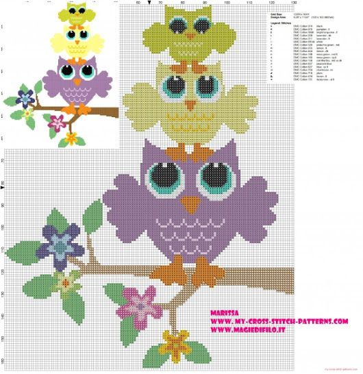 cross-stitch pattern with owls in the tower of flowering branch - free cross stitch patterns simple unique alphabets baby