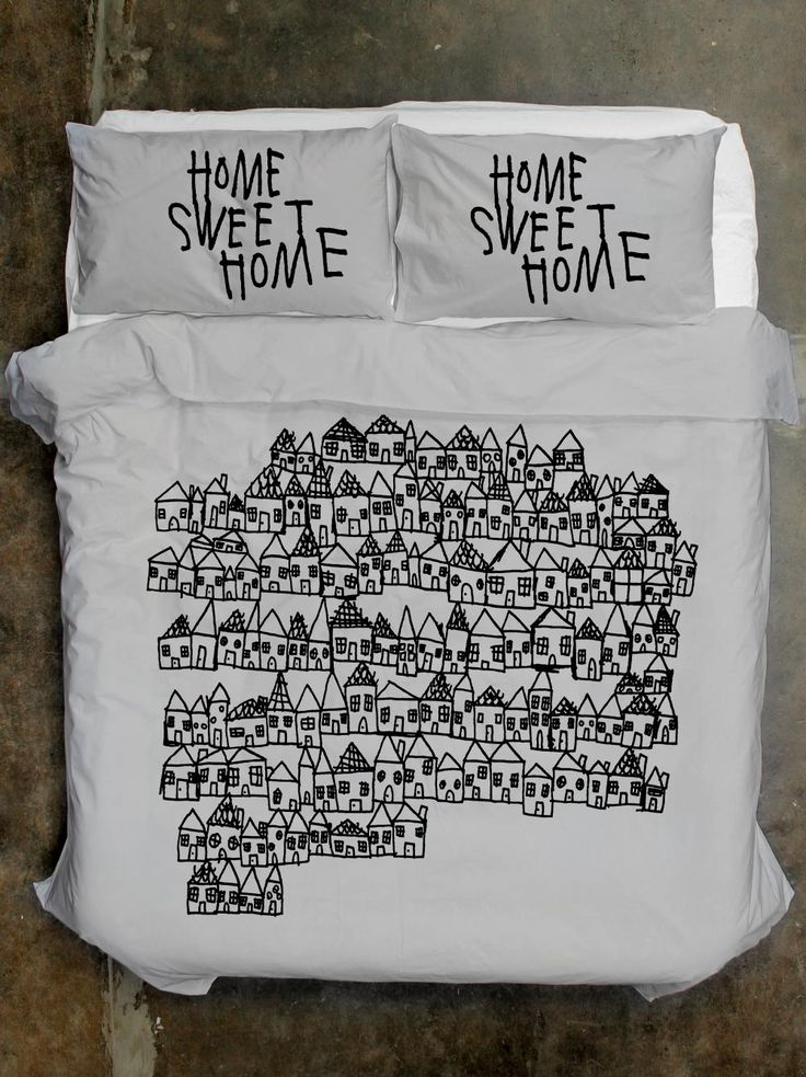 100% Cotton Home Sweet Home Quilt Cover and Pillowcases from Life Modern. Designed in Melbourne. Available in Queen/King size and White or Grey.