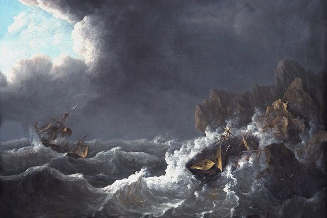 """Shipwreck in Storm"" one of Raden Saleh's painting--one of most prominent Indonesian painter--"