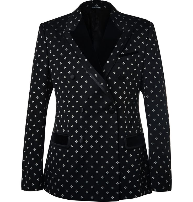 Dolce & Gabbana - Black Slim-Fit Velvet-Trimmed Cotton-Blend Jacquard Tuxedo Jacket 2065 EUR.