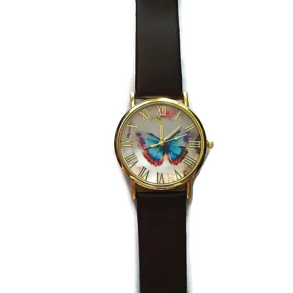Colorful Butterfly Leather Watch Gift for by BriAndAshStore