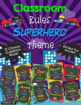 Super cute, superhero classroom rules posters on superhero-themed backgrounds with matching clip art. Also included is a separate PowerPoint file for you to customize your own rules! Clip art is flattened and fonts are embedded in editable file. Rules included in pre-made posters are as follows (you can see them all in the preview file): *It is okay to make mistakes*Keep your hands and feet to yourself*Ask permission before leaving your seat*Follow all directions quickly*Raise your hand…