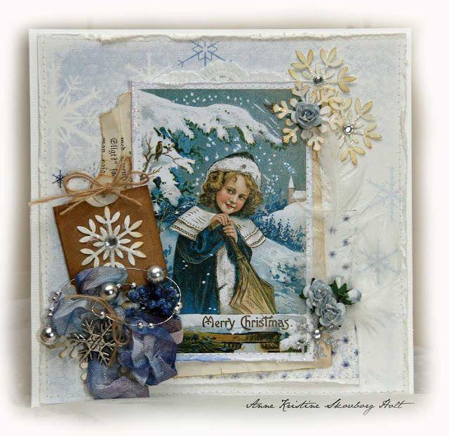 Anne's paper fun: Vintage julekort utfordring { Snøstjerner og blomster }