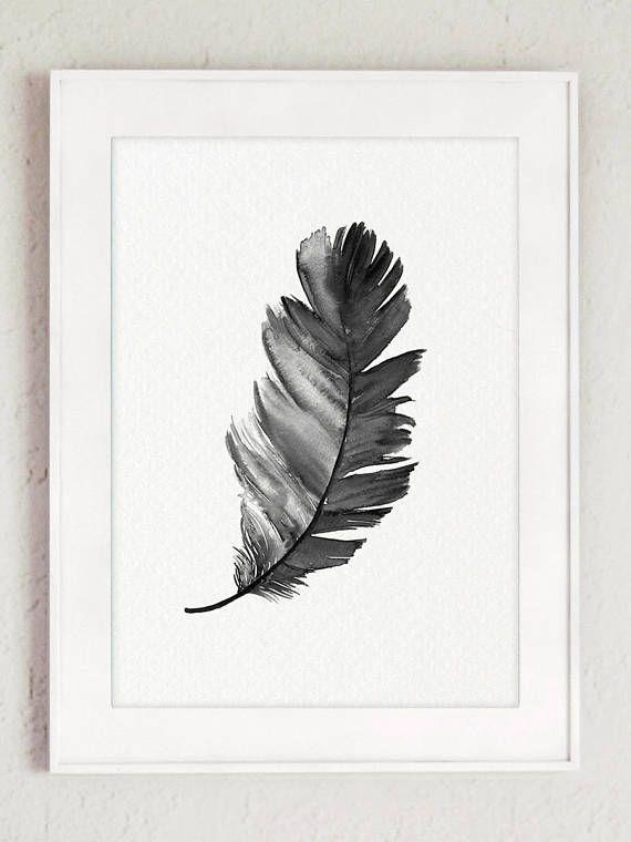 Silueta de plumas negro Set 2 impresiones dos plumas lámina