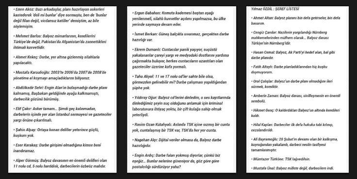 Balyoz Kumpasına Destek Veren Gazeteciler/Yılmaz Ozdil'in Listesi
